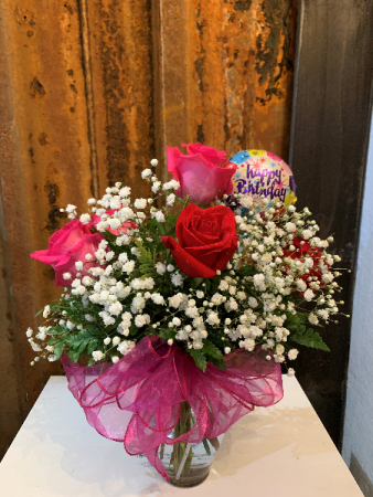 Happy Birthday Mixed Roses Vase Arrangement