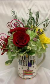 Happy Birthday Mug with Flowers Fresh Arrangement