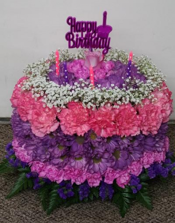 Happy Birthday Pink & Purples Floral Cake  B-11 Fresh Flower Arrangement (Local Delivery Only)