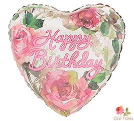 Happy Birthday Pink Roses Mylar Balloon