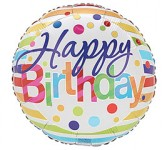 Happy Birthday Polka Dots & Stripes Mylar Balloon