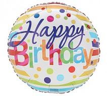 Happy Birthday Polka Dots & Stripes Mylar Balloon