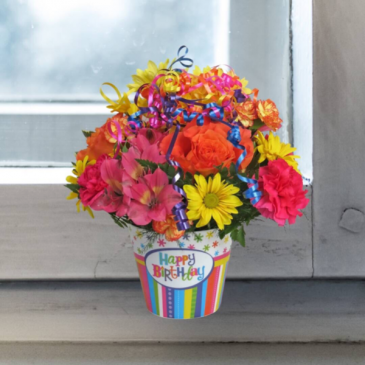 Mixed Flowers in Birthday Container