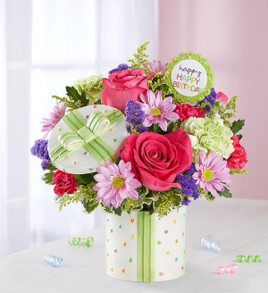 Happy Birthday Present Bouquet 167382 in Orlando, FL | Artistic East Orlando Florist