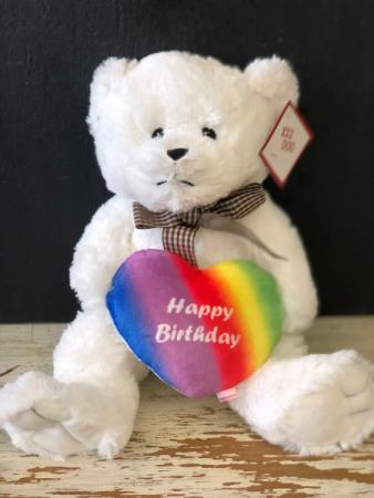 Happy Birthday Rainbow Bear 14' bear in white or brown