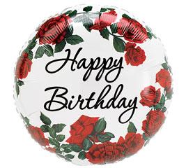 Happy Birthday Red Roses Mylar Balloon