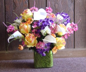 Happy Birthday Silky Colorful Silk Floral Arrangement in Jerusalem, OH | MALAGA GREENHOUSE FLORIST & GIFT SHOP
