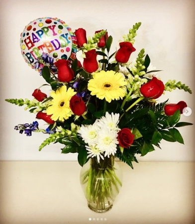 Happy Birthday Surprise Red Roses Mix Arrangement with Balloon