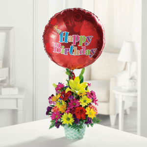 happy birthday to you ! basket with balloon included in Lebanon, NH | LEBANON GARDEN OF EDEN FLORAL SHOP