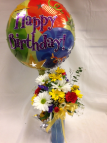 Happy Birthday Travel Mug Arrangement with Balloon
