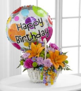 Happy Blooms Basket Birthday Arrangement
