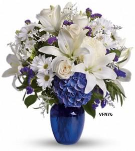 Happy blue and white flower arrangement in williston park ny happy blue and white flower arrangement mightylinksfo