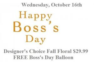 Happy Boss's Day Fall Floral Balloon & Fall Mix Arrangement in Plainview, TX | Kan Del's Floral, Candles & Gifts