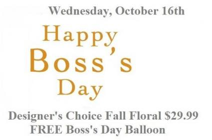 Happy Boss's Day Fall Floral Balloon & Fall Mix Arrangement