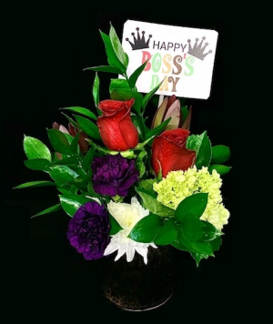 """Happy Boss's Day Floral Pottery Floral with """"Happy Boss's Day"""" Balloon in Plainview, TX 