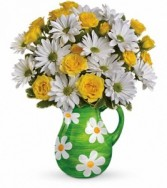 "EXCLUSIVELY AT FLOWERS TODAY FLORIST Happy Daisies ""Ceramic Keepsake"" Pitcher"