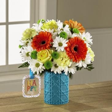 Happy Day Birthday™ Bouquet by Hallmark Vased Arrangement