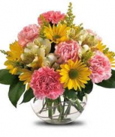 Happy Day Bouquet..Colors May Vary Glass Bowl Arrangement