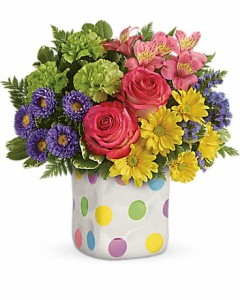Happy Dots Boquet Cube Arrangement in Gladewater, TX | GLADEWATER FLOWERS & MORE