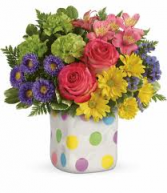 happy dots bouquet all around in Ceramic cube