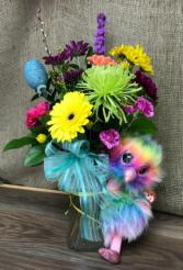 Happy Easter  Fresh arrangement with plush