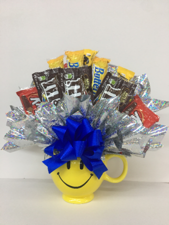 happy face candy bouquet