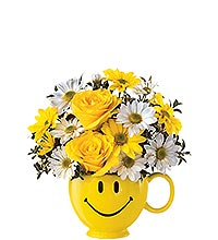 Happy Face Mug / Bowl Happy Face Container full of flowers in Cambridge, ON | MY FLOWER SHOP