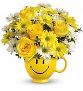Teleflora's Happy Face Arrangement Fresh Flowers in Happy Face Container