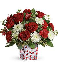 Happy Harmony Red and White Cube Vase