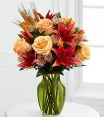 Happy Harvest Bouquet Fresh Arrangment in a Rose Vase