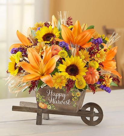 Happy Harvest Wheelbarrow Fall Arrangement