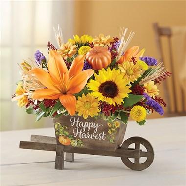Happy Harvest Wheelbarrow Floral Arrangement