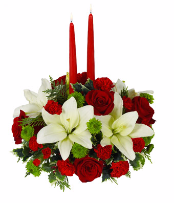 Happy Holiday centerpiece with candle