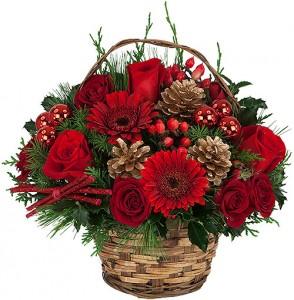 HAPPY HOLIDAYS Basket Arrangement in Port Stanley, ON | FLOWERS BY ROSITA