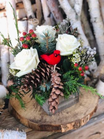 Happy Holidays Rustic Box Arrangement