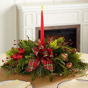 Happy Holidays Ya'll Christmas Centerpiece in Magnolia, TX | ANTIQUE ROSE FLORIST