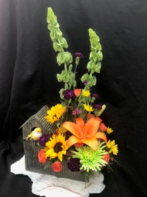 Happy Homemaker Birdhouse Fresh Arrangement in Coleman, WI | COLEMAN FLORAL & GREENHOUSES