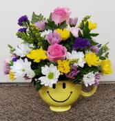 Happy Pastel Smiley Face Mug  FHF 06 Keepsake Arrangement