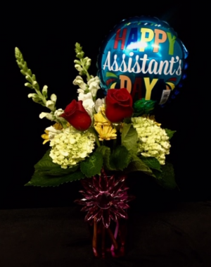 Happy Professional Assistant's Day! Mixed Floral Design With Balloon in Plainview, TX | Kan Del's Floral, Candles & Gifts