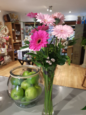 THANKS A BUNCH! Multi coloured Gerbera Daisies in a vase