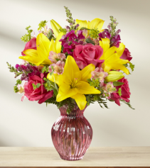 Happy Spring  mixed Lily and roses and stock
