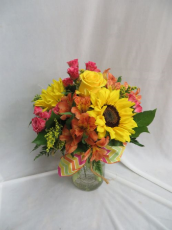 Happy Thoughts Fresh Mixed Arrangement in a Mason Jar