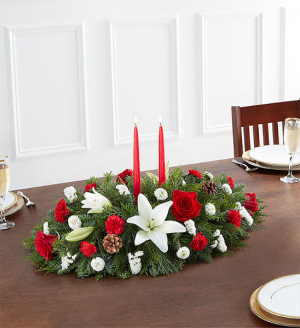 Happy Traditional Holiday Centerpiece  Medium Shown in Sunrise, FL | FLORIST24HRS.COM