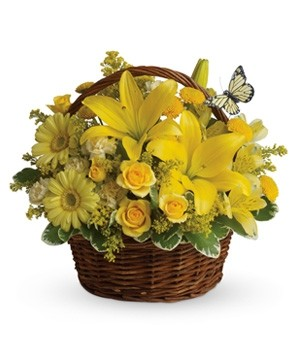 Happy Yellow Basket Fresh Flower Arrangement
