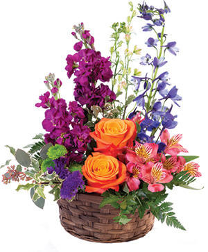 Harmony's Basket Basket Arrangement in Cedar City, UT | Boomer's Bloomers & The Candy Factory