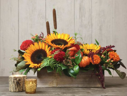 Harvest Bounty  Long Low Centerpeice