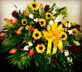Harvest Celebration Orange Roses, Sunflowers accented with Cotton Bolls