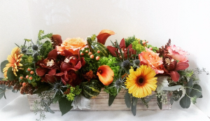 Harvest elegance extra long wooden box in Northport, NY | Hengstenberg's Florist
