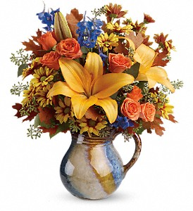 Harvest Fields Bouquet Pitcher Teleflora in Springfield, IL | FLOWERS BY MARY LOU INC