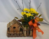 HARVEST HOME  BLOOMING PLANT/BIRD HOUSE